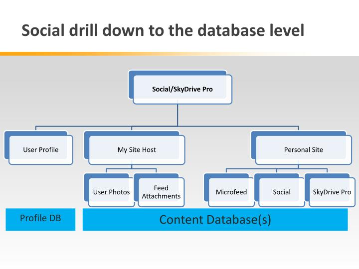 Social drill down to the database level