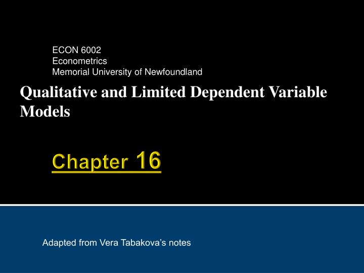 qualitative and limited dependent variable models n.