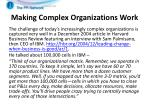 making complex organizations work1