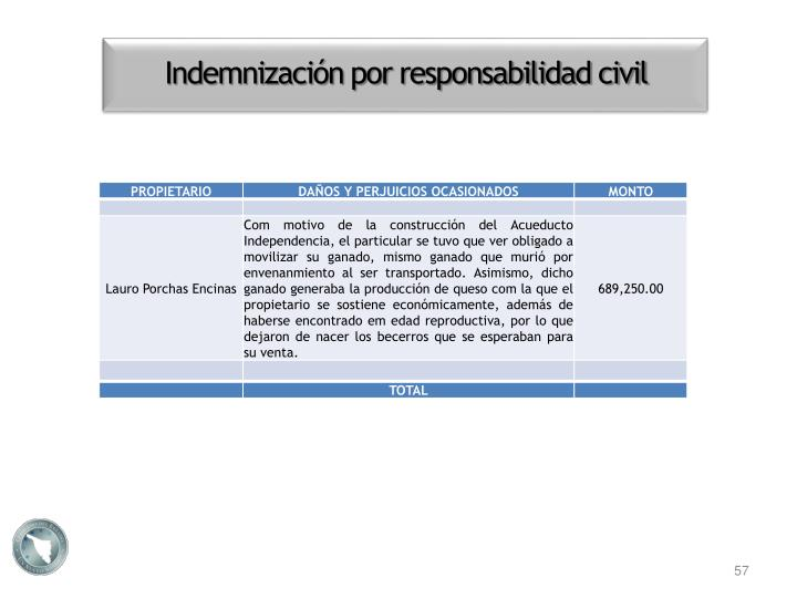 Indemnización por responsabilidad civil
