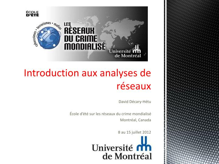 introduction aux analyses de r seaux n.
