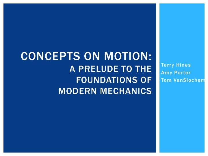 concepts on motion a prelude to the foundations of modern mechanics n.