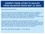 excerpt from letter to galileo from daughter dated may 14 1633