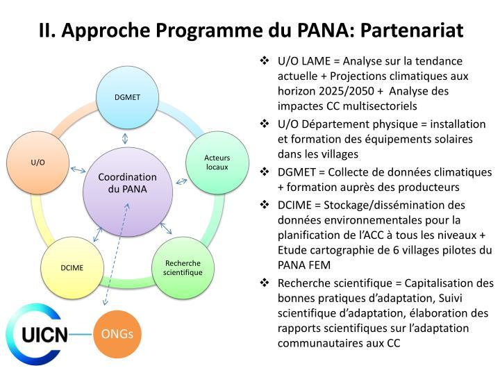 II. Approche Programme du PANA: Partenariat