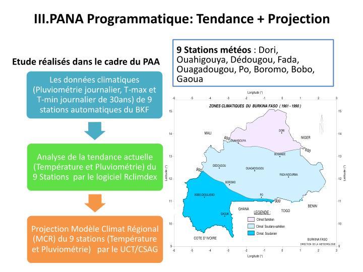 III.PANA Programmatique: Tendance + Projection