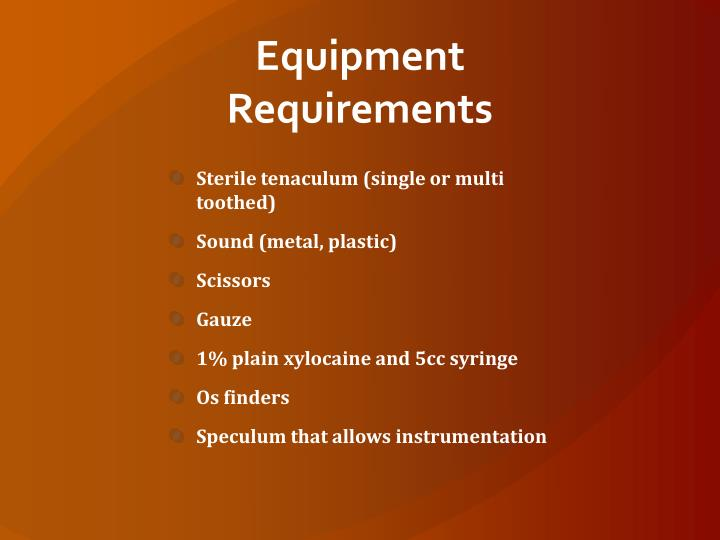 equipment requirements n.