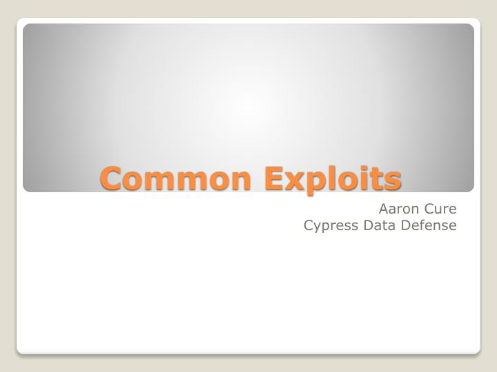 common exploits n.