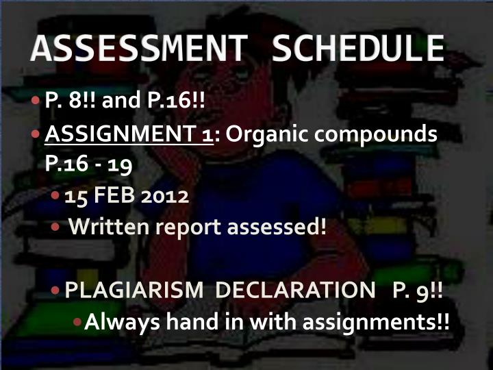 assessment schedule n.