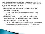 health information exchanges and quality assurance