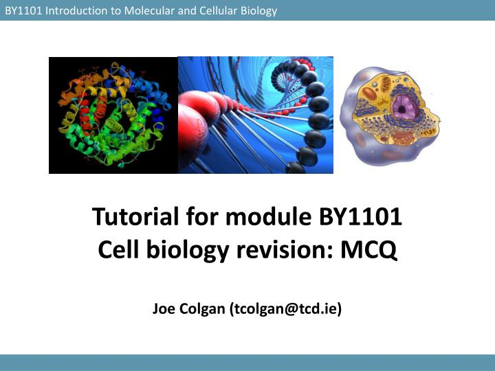 Tutorial for module by1101 cell biology revision mcq joe colgan tcolgan@tcd ie