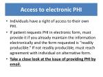 access to electronic phi