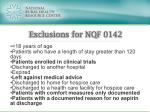 exclusions for nqf 0142