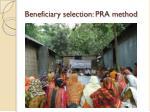beneficiary selection pra method