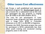 other issues cost effectiveness