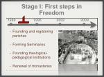 stage i first steps in freedom