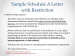 sample schedule a letter with restriction