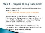step 4 prepare hiring documents