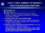 a m s t teen summary of images steps for managing emotions