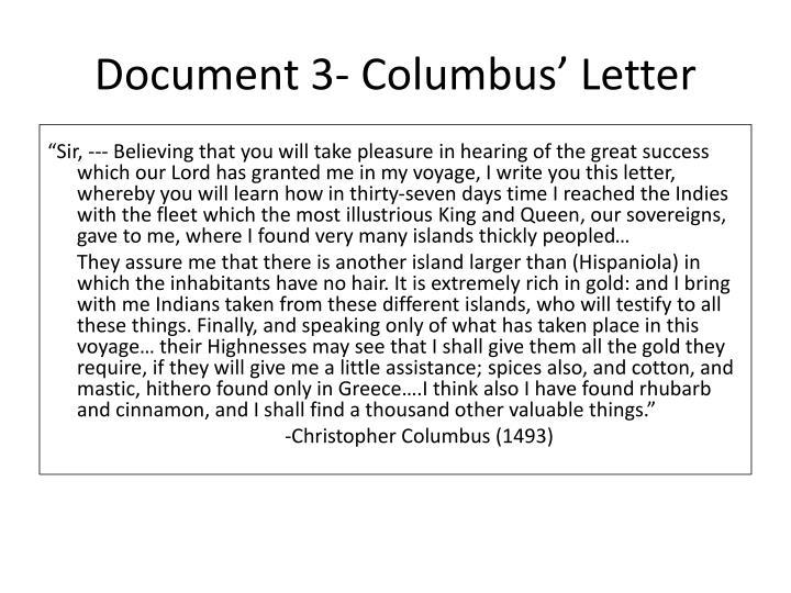Document 3- Columbus' Letter