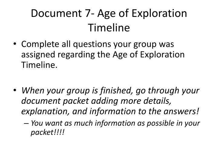 Document 7- Age of Exploration Timeline