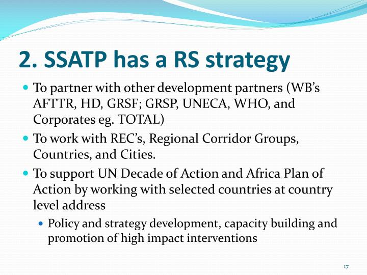 2. SSATP has a RS strategy