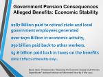 government pension consequences alleged benefits economic stability