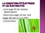 la conductibilit lectrique et les lectrolytes