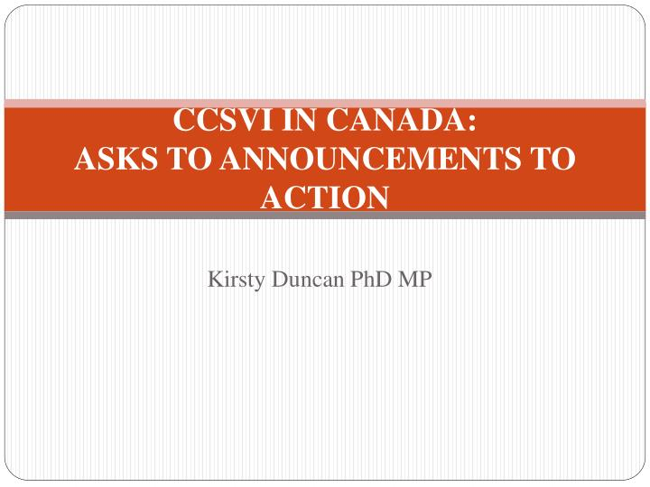 ccsvi in canada asks to announcements to action n.