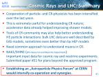 cosmic rays and lhc summary