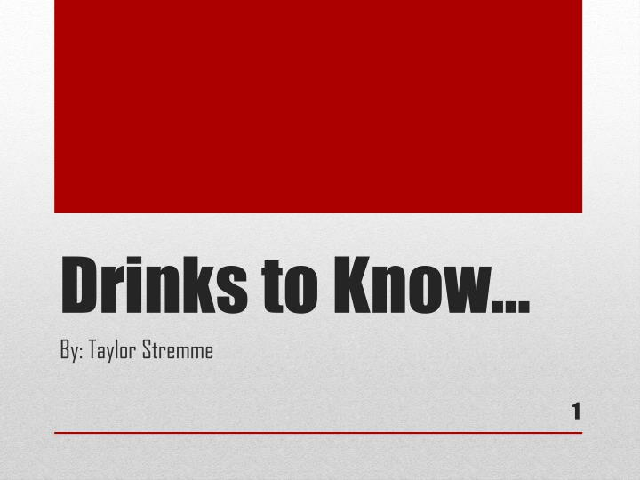 drinks to know n.