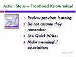 action steps frontload knowledge