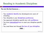 reading in academic disciplines