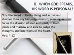 b when god speaks his word is personal