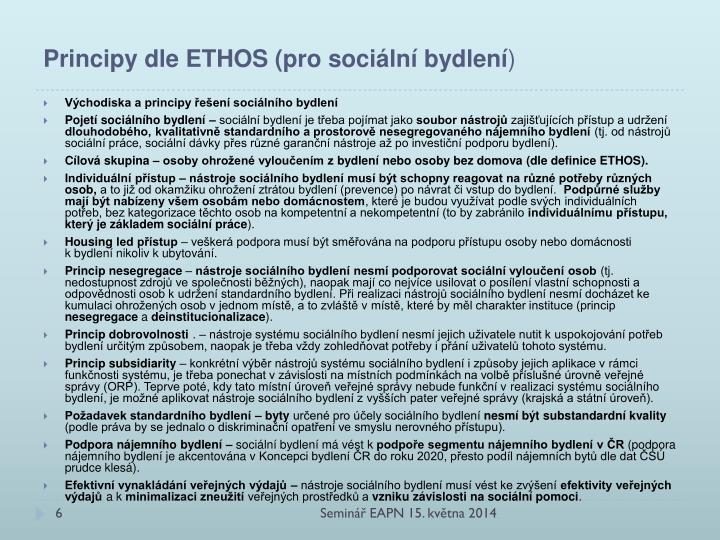 Principy dle ETHOS (pro sociální bydlení