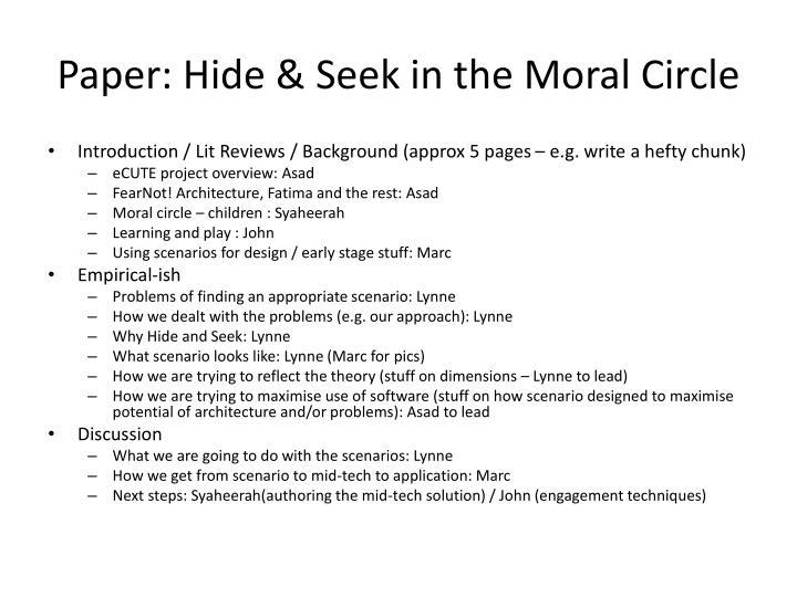 Paper: Hide & Seek in the Moral Circle