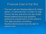 financial cost of the war