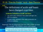 the definitions of acids and bases have changed over time