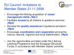 eu council invitations to member states 21 11 2008