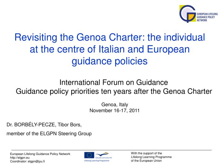 revisiting the genoa charter the individual at the centre of italian and european guidance policies n.