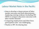 labour market note in the pacific