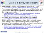 external rf review panel report
