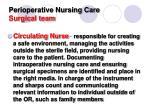 perioperative nursing care surgical team