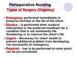 perioperative nursing types of surgery urgency