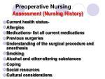 preoperative nursing assessment nursing history