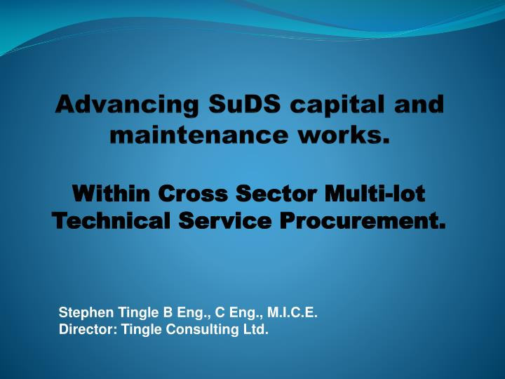 advancing suds capital and maintenance works n.