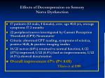 effects of decompression on sensory nerve dysfunction