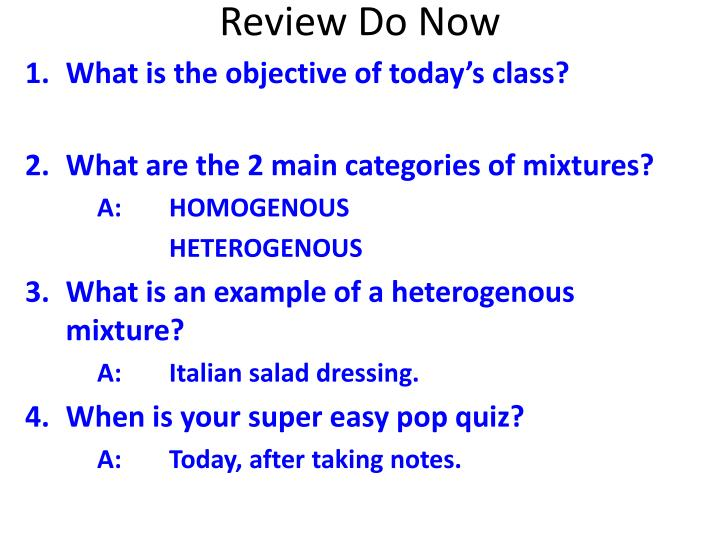 Review do now