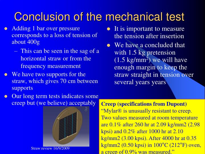 Conclusion of the mechanical test