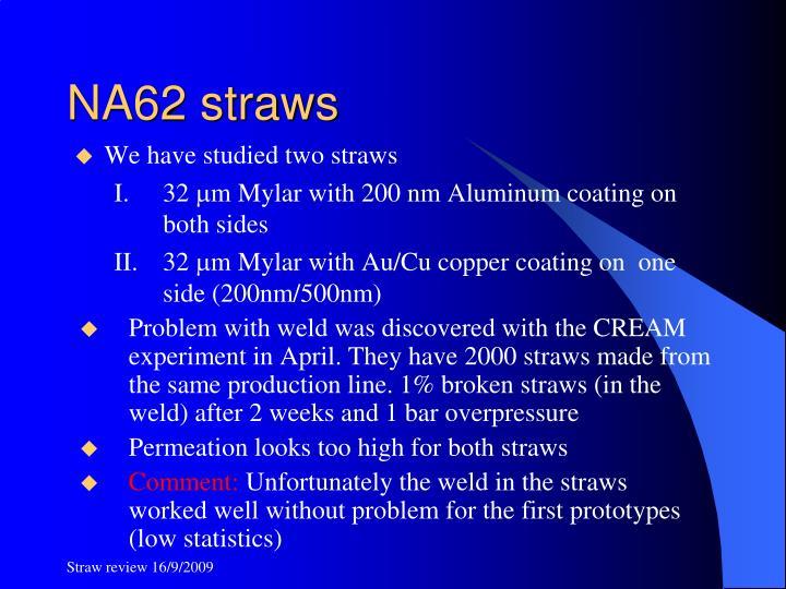 NA62 straws