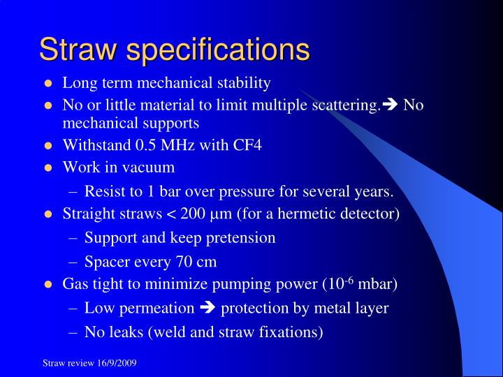 Straw specifications